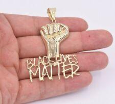 "2 3/4"" Black Lives Matter Fist Pendant Diamond Cut Real 10K Yellow Gold"