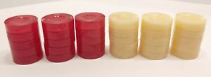 Vtg Backgammon Replacement Game Parts 30 Checkers 15 Red 15 Cream Glossy Marbled