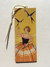 Vintage 1920s Bridge Game Tally or Bookmark- Woman with Bluebirds