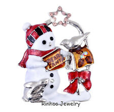 Pretty Christmas Gift Exquisite Colorful Enamel Nice Cute Snowman Brooch Pins