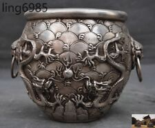 Marked Old Chinese Silver beast head Dragon play bead Tanks Crock Bottle Pot Jar