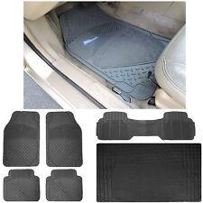 6pc Suv Semi-Carpet Rubber Front Rear Mats Black Rubber Runner Mat Cargo Mat Set