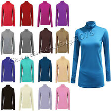Ladies Plain woman Polo Neck Turtle Roll Tunic Top Jumper Full Sleeve All Colour