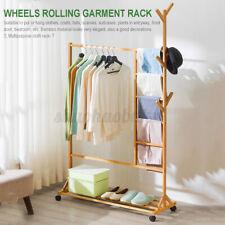 Wooden Garment Rack Storage Coat Clothes Stand Shoe Bag Hat Hanger Bamboo