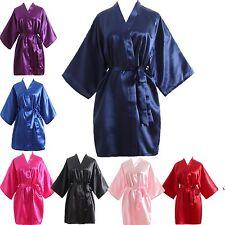 Women robe Silk Satin Robes Wedding Bridesmaid Bride Gown kimono Solid robe**