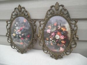 """Pair Convex Floral Pictures-Made In Italy Metal Ornate Frames 10"""" Vintage"""