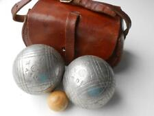 Antique Vintage Set Of Jb French Boules In Leather Case With Jack
