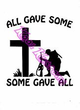 VINYL DECAL STICKER ALL GAVE SOME..BIG CROSS...CAR TRUCK WINDOW