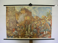 School Wall Picture Crusaders before Jerusalem in the years 1099 96x70cm ~ 1950 Vintage Map