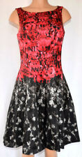 JULIAN TAYLOR BLACK/RED FLORAL SLEEVELESS SCOOP NECK SHINY FABRIC A-DRESS SZ 12