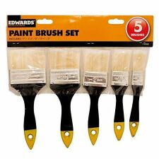 5 Piece DIY Paint Brush Home Painting Decorating  With Wooden Handles UK SALE