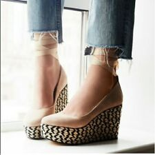 Free People Charade Espadrille Wedge Natural Suede Spain 8 USA, 38 EUR $138