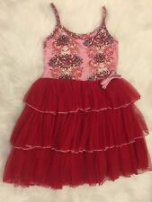 Ooh La La  Couture Pink and Red Floral Sleeveless Dress Sz 5