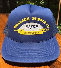 Eljer Snap Back Trucker Cap Hat Wallace Supply Vtg 90s Hipster Blue Yellow