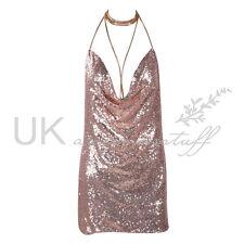 UK Womens Backless Sequin Dress Ladies Kendall Chain Choker Slip Dress Size 6-14