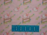 2 YARDS FLANNEL Sheep Jumping Over Fence Flowers Pink Craft Quilt Cotton Fabric