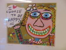 """Art """"Cause I'm Happy"""" 2015 Signed Mixed Media Collage by SMOLOFF ~ NEW & Matted"""