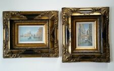 ❇ Antique watercolour paintings. Alberto Trevisan (1919 – 1978) views of Venice