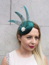 Bottle Green Velvet Statement Peacock Feather Headpiece Fascinator Vintage 2792
