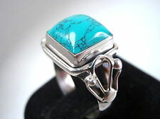 Turquoise Ring Size 5.75 Beautifully Accented 925 Sterling Silver Square