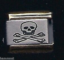 SKULL AND BONES GOLD TRIM ITALIAN CHARM 9MM