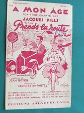 """Partition  Chant """"A mon âge"""" Van PARYS J. BOYER J. PILLS"""