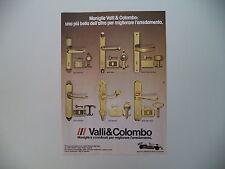 advertising Pubblicità 1983 MANIGLIE VALLI E COLOMBO