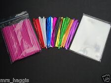 "50 x 4.5"" PINK  CAKE POP KIT PLASTIC LOLLIPOP STICKS & CELLO BAGS METALLIC TIES"