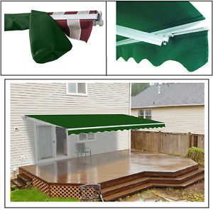 ALEKO 13 x 10 ft Retractable Home Patio Canopy Awning and Protective Cover Green