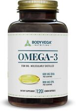 Body Vega Omega-3 FIsh Oil Pills Lemon Burpless EPA 800MG DHA 600MG BodyVega