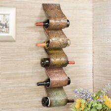 Metal Wall Mount Sculpture Five Wine Bottle Storage Rack Home Furniture Decor