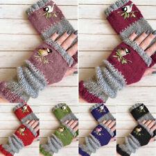 Retro Women Birds Embroidery Gloves Knitted Fingerless Mittens Gloves Winter