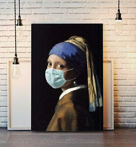 CANVAS WALL ART ARTWORK PRINT Vermeer Girl With The Pearl Earring Wearing Mask
