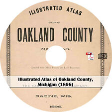 1896 Atlas of Oakland County, Michigan - Mi History Genealogy Maps Book on Cd