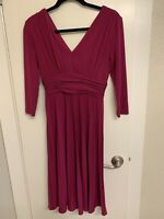Suzi Chin for Maggy Boutique Purple 3/4 sleeve, V Neck RUCHED Cocktail Dress,  4