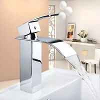 AS Chrome Deck Mounted Bathroom Basin Mixer Vanity Sink Faucet Waterfall Taps