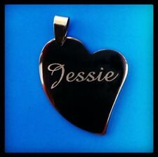 Personalised Custom Free Name Text Engraved Heart Pet  Dog Puppy Cat ID Tags