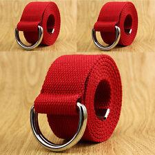 Metal Waist Waistband Canvas Belt Fashion Men's Unisex Casual Double D-Ring