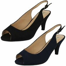 Ladies Anne Michelle PEEP Toe Sling Back Shoes F10593 UK 7 Navy Wide