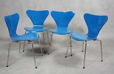 Set 4 Vintage Danese Arne Jacobsen 'sjuan' Fritz Hansen Danimarca anni Settanta blu cobalto