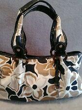 Fossil Women's Handbag Black Brown Cream Flower Black patent leather handle trim