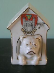 """A SHELLEY CRESTED CHINA DOG IN KENNEL: SWANSEA CREST: 3.75"""" TALL: VG CONDITION"""