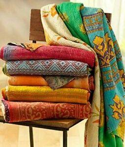 Vintage Kantha Bedspread Indian Handmade Quilt Throw-Cotton Blanket Ralli Gudari