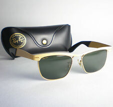 Vintage Ray Ban USA BL WAYFARER DELUXE Sunglasses gold metal frame black