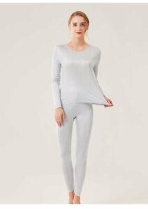 New Women's Silk Thermal Underwear Set Silk Long Johns Top & Bottom TG3S48