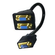 Monitor Y Dual Splitter Lead SVGA VGA Cable - SENT TODAY