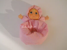 Baby's First Doll Layla goldberger pink & white gingham vinyl face rattle lovey