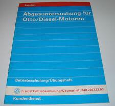 Schulungsunterlage VW Audi Otto Diesel Motoren Betriebsschulung Übungsheft 1993!