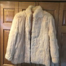 Vintage Peach/cream Colored Authentic Rabbit Fur Jacket Coat, Sz. L