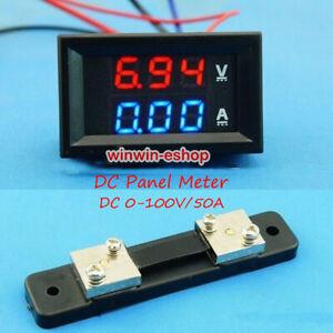 DC 100V/50A Voltmeter Digital LED Volt Ammeter + Shunt Volt tester Meter 12V 24V